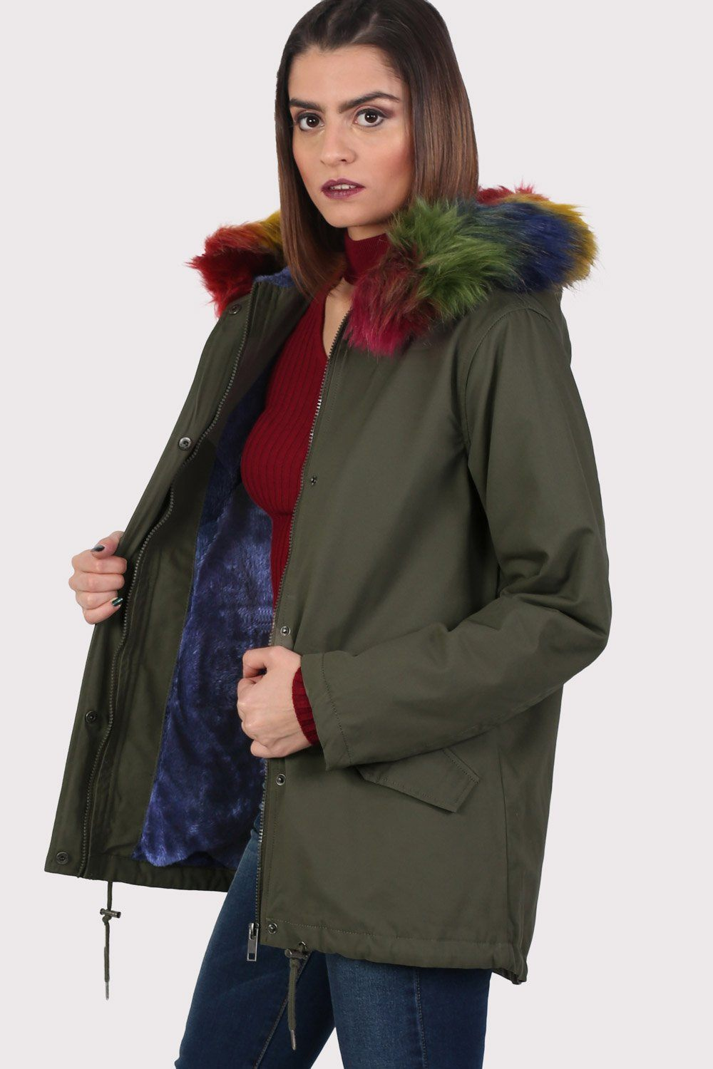 Multi-Colour Faux Fur Trim Hooded Parka Coat in Khaki Green 0