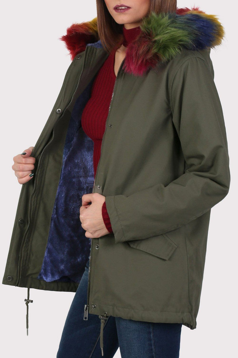 Multi-Colour Faux Fur Trim Hooded Parka Coat in Khaki Green 5