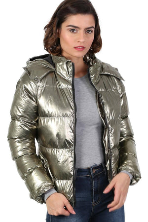 Metallic Puffer Jacket With Hood in Mint Green 0