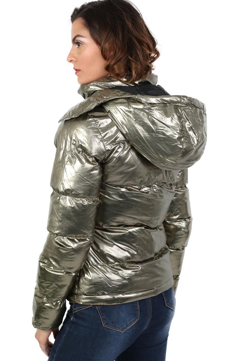Metallic Puffer Jacket With Hood in Mint Green 2