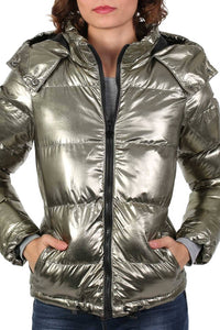 Metallic Puffer Jacket With Hood in Mint Green 4