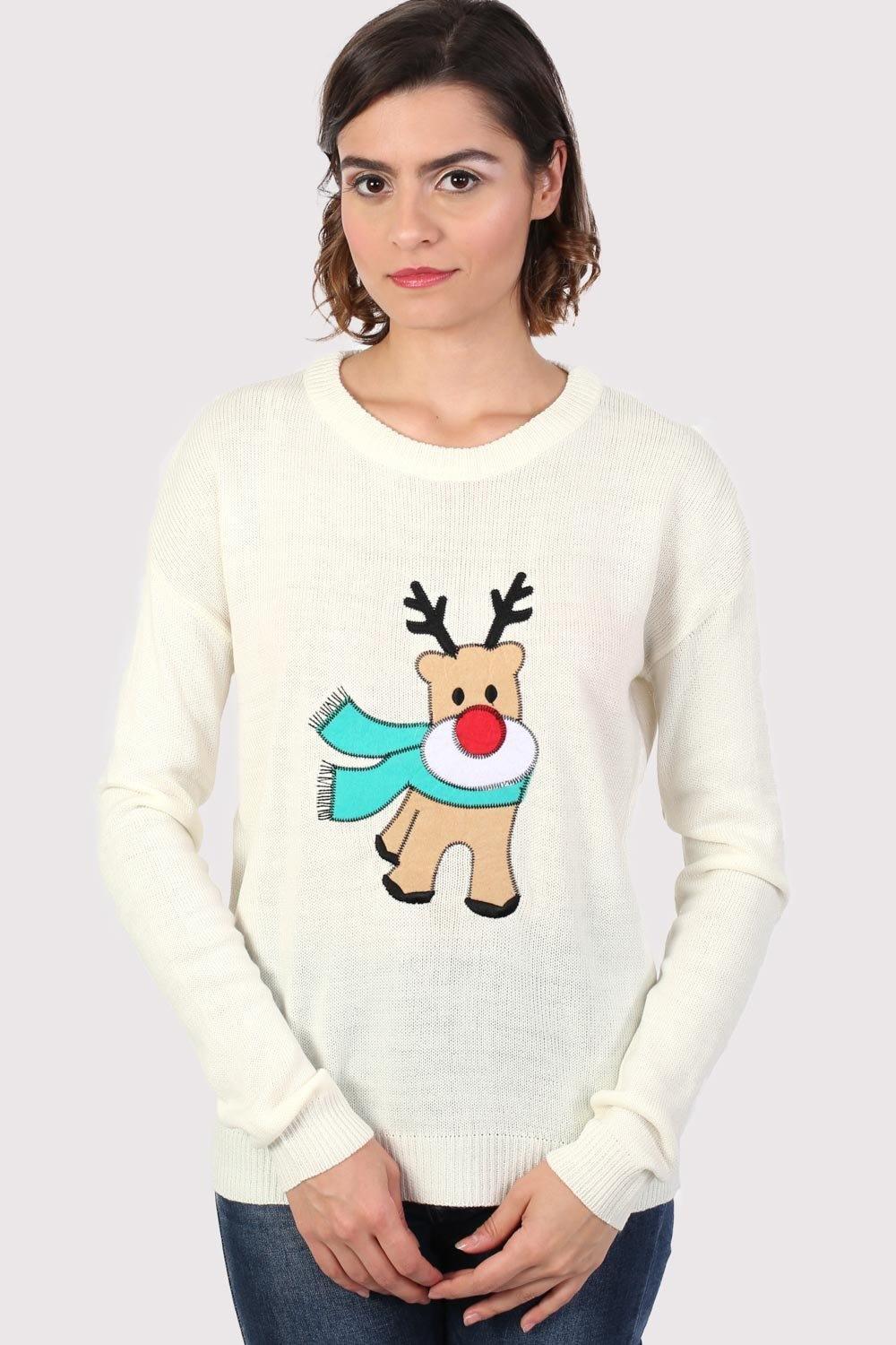 Reindeer Long Sleeve Christmas Jumper in Cream 0