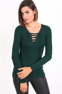 Plain Fine Rib Long Sleeve Lace Up Front Top in Green 0
