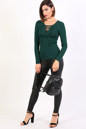 Plain Fine Rib Long Sleeve Lace Up Front Top in Green 3