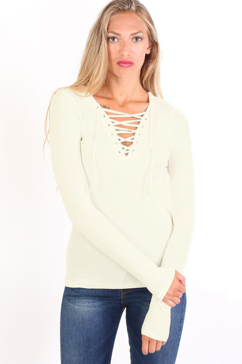 Plain Fine Rib Long Sleeve Lace Up Front Top in Cream 0