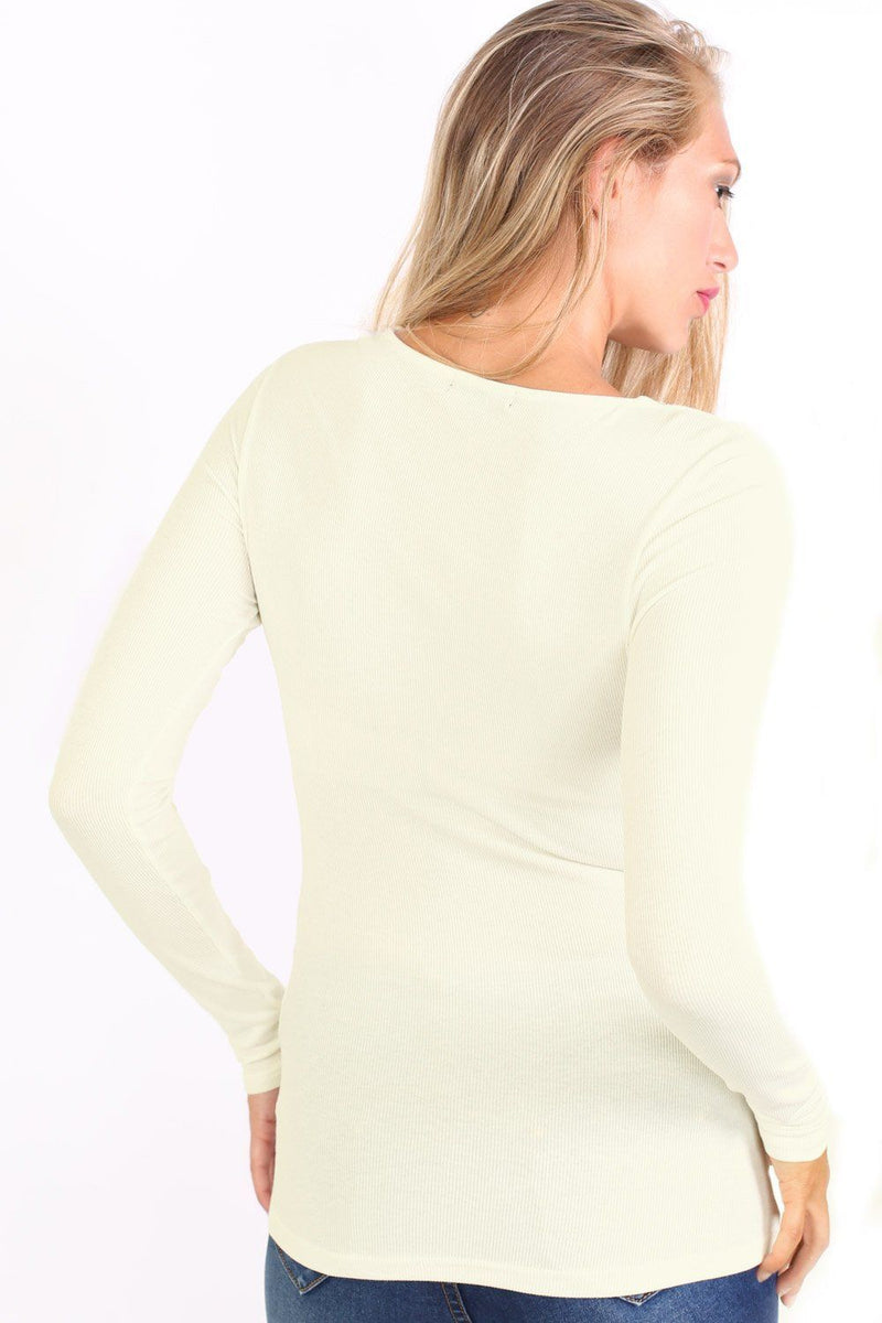 Plain Fine Rib Long Sleeve Lace Up Front Top in Cream 2