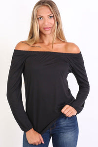 Plain Long Sleeve Bardot Top in Black 0