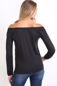 Plain Long Sleeve Bardot Top in Black 1