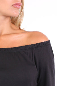Plain Long Sleeve Bardot Top in Black 2