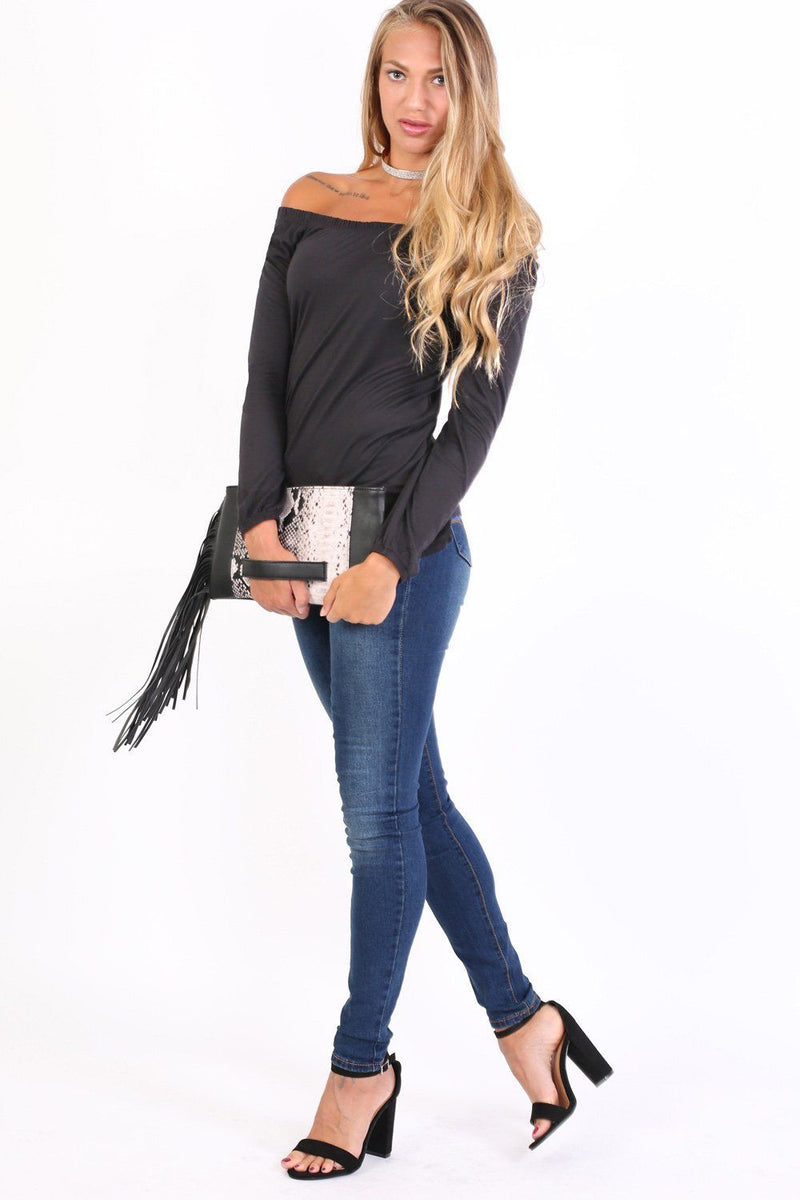 Plain Long Sleeve Bardot Top in Black 3