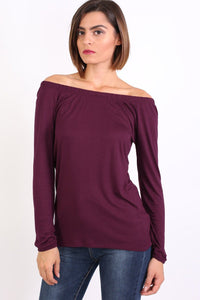 Plain Long Sleeve Bardot Top in Purple 0