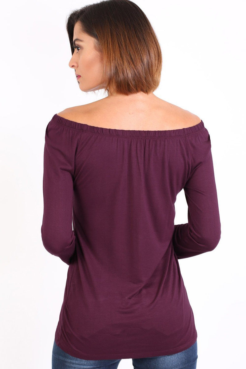 Plain Long Sleeve Bardot Top in Purple 1