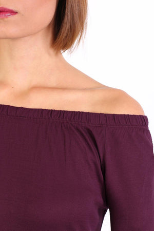 Plain Long Sleeve Bardot Top in Purple 2