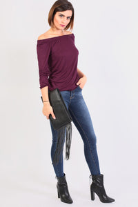 Plain Long Sleeve Bardot Top in Purple 3