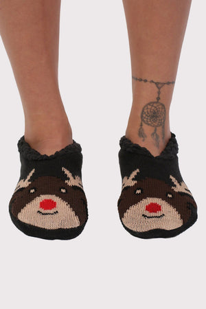 Christmas Novelty Reindeer Slipper Socks in Chocolate Brown 0