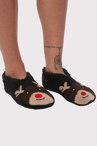 Christmas Novelty Reindeer Slipper Socks in Chocolate Brown 1