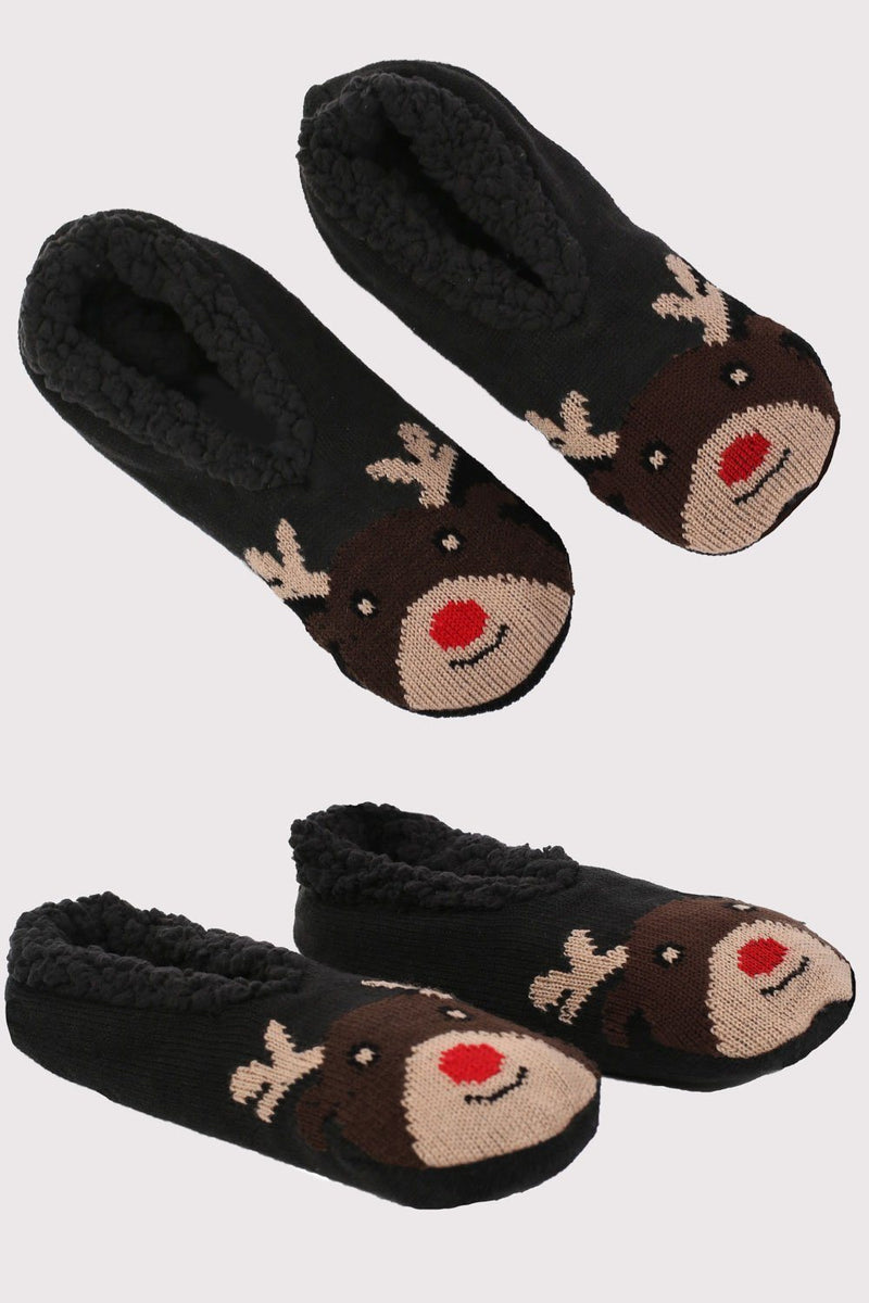 Christmas Novelty Reindeer Slipper Socks in Chocolate Brown 2