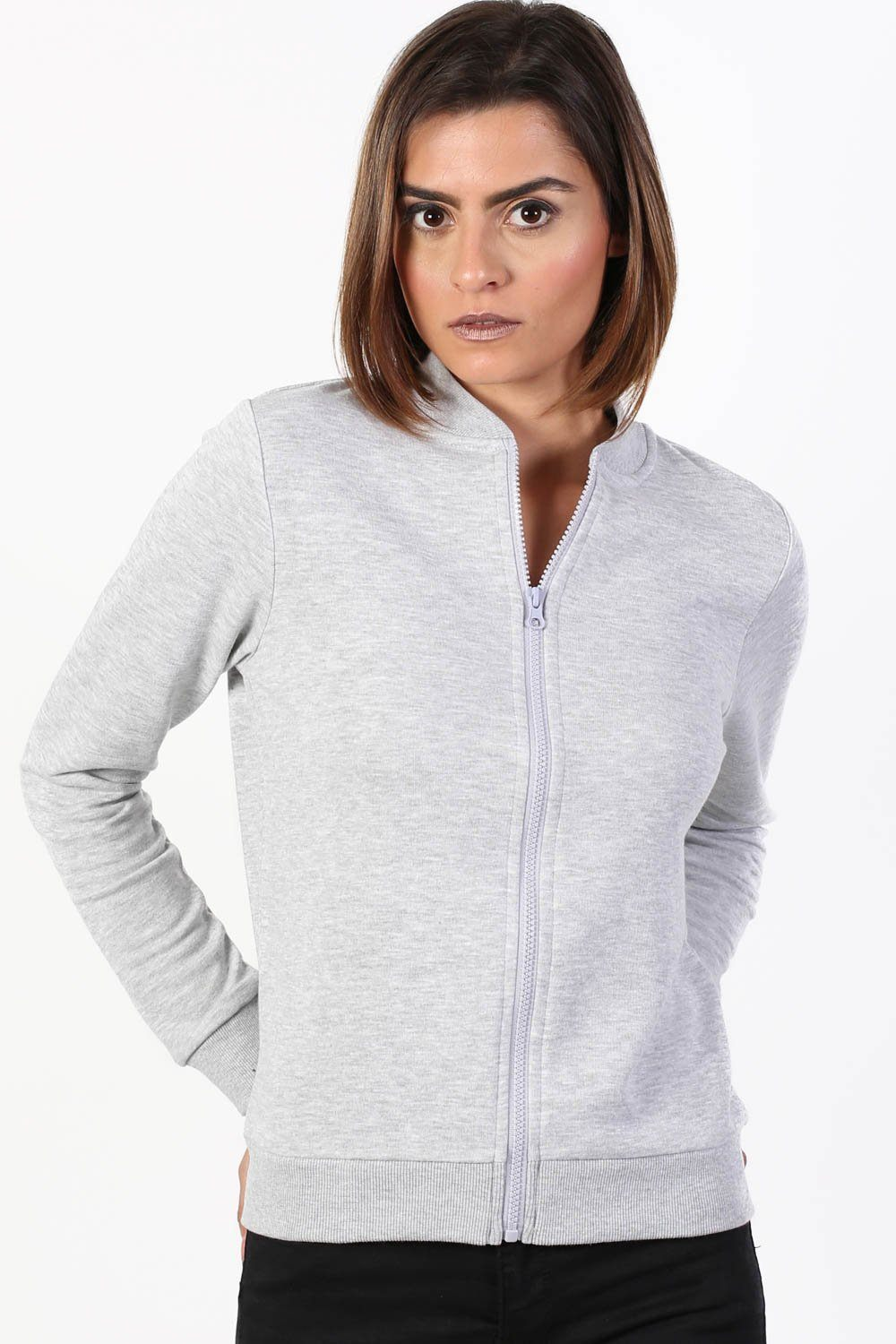 Plain Zip Front Long Sleeve Jogger Top in Grey 0
