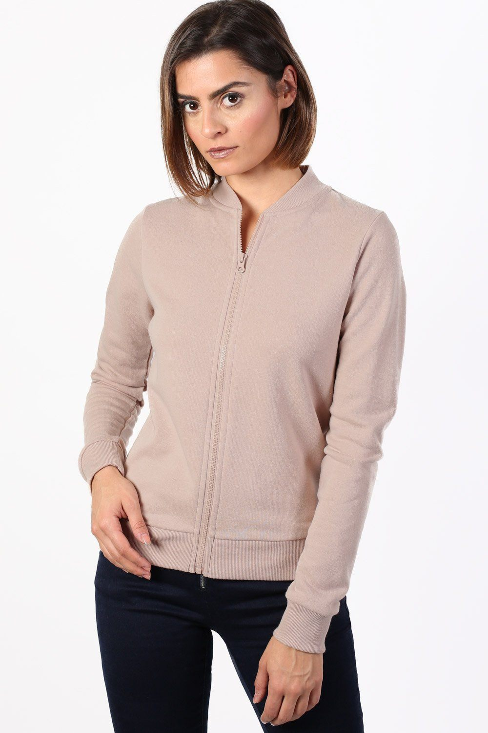 Plain Zip Front Long Sleeve Jogger Top in Dusty Pink 0