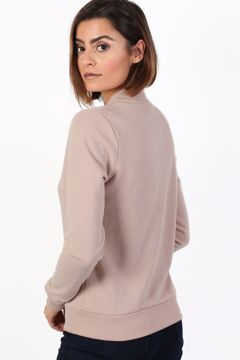 Plain Zip Front Long Sleeve Jogger Top in Dusty Pink 1