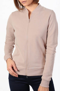 Plain Zip Front Long Sleeve Jogger Top in Dusty Pink 4