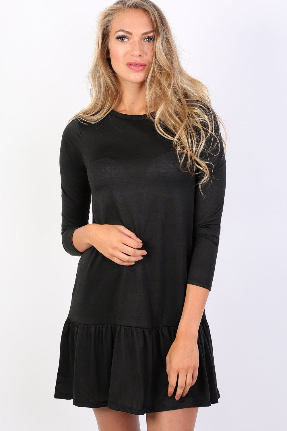 Long Sleeve Plain Peplum Hem Mini Dress in Black 0