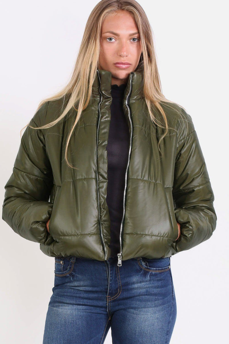 Cropped Puffer Jacket in Khaki Green 0