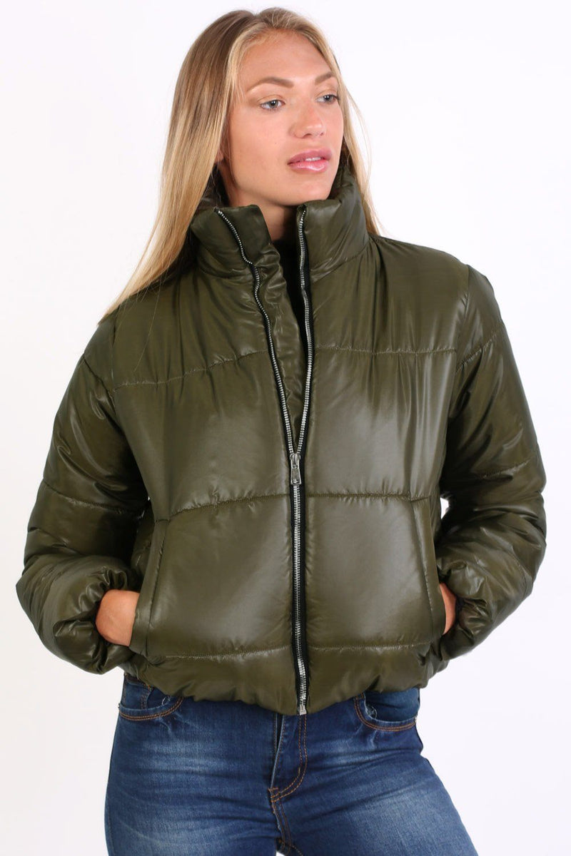 Cropped Puffer Jacket in Khaki Green 1