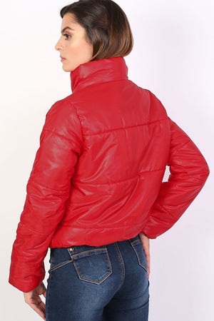 Cropped Puffer Jacket in Red 1