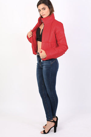 Cropped Puffer Jacket in Red 2