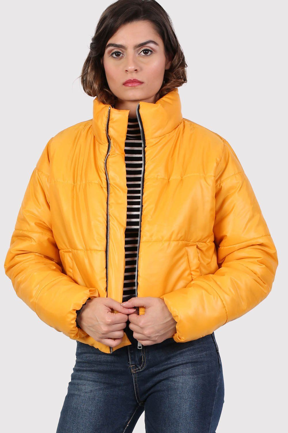 Cropped Puffer Jacket in Mustard Yellow 0