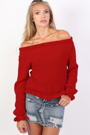 Frill Neck Long Sleeve Knitted Jumper in Red 1