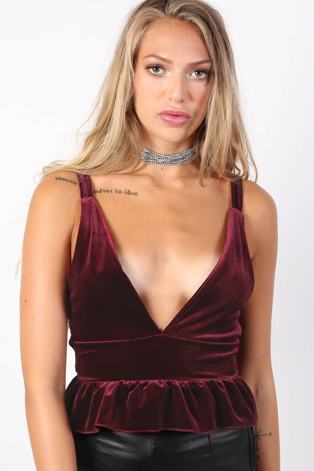 Velvet Plunge V Neck Strappy Frill Hem Top in Wine Red 0