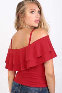 Strappy Double Frill Bardot Top in Red 1