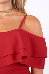 Strappy Double Frill Bardot Top in Red 2