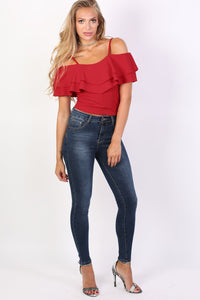 Strappy Double Frill Bardot Top in Red 3