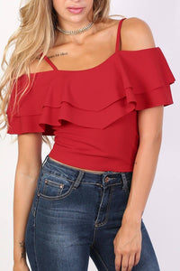 Strappy Double Frill Bardot Top in Red 4