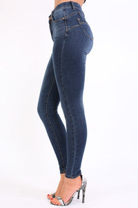 High Waisted Skinny Jeans in Dark Denim 1