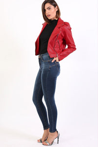 High Waisted Skinny Jeans in Dark Denim 3