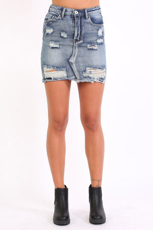Frayed Hem Ripped Denim Mini Skirt in Denim Blue 0