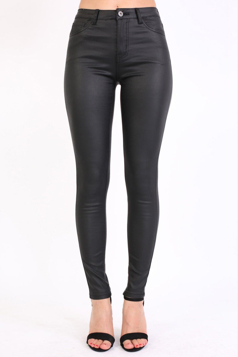 Faux Leather Jean Style Stretchy Skinny Trousers in Black 0