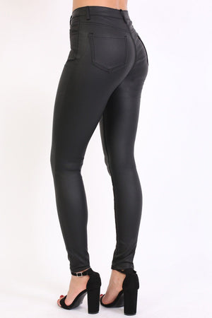 Faux Leather Jean Style Stretchy Skinny Trousers in Black 2