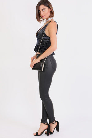 Faux Leather Jean Style Stretchy Skinny Trousers in Black 3