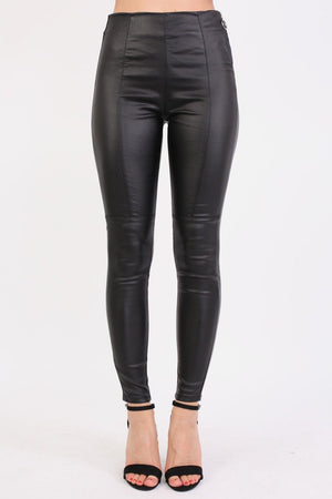 Side Zip Detail Faux Leather Stretchy Skinny Trousers in Black 0