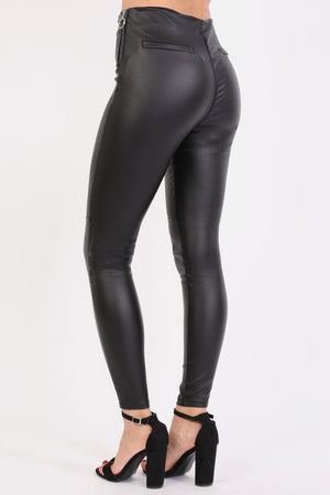 Side Zip Detail Faux Leather Stretchy Skinny Trousers in Black 1