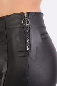 Side Zip Detail Faux Leather Stretchy Skinny Trousers in Black 2