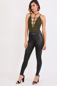 Side Zip Detail Faux Leather Stretchy Skinny Trousers in Black 3