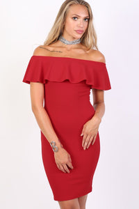 Deep Frill Bardot Bodycon Mini Dress in Red 0