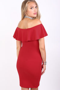 Deep Frill Bardot Bodycon Mini Dress in Red 1