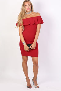 Deep Frill Bardot Bodycon Mini Dress in Red 3